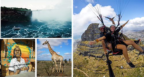 several pictures of exchange studies including landscapes, a giraffe and a woman skydiving