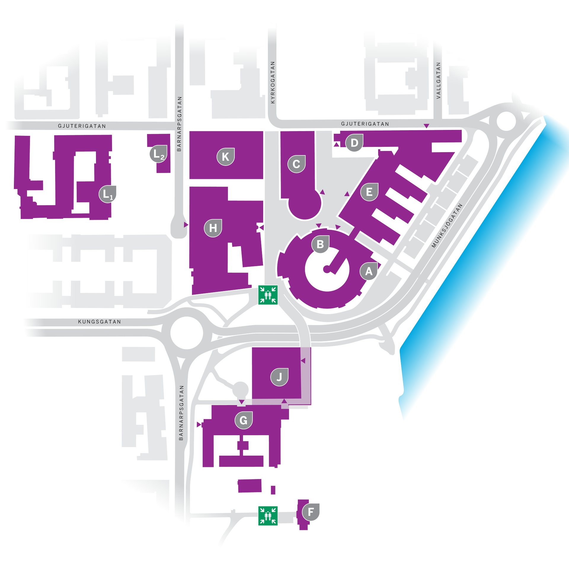 Map of assembly points on campus