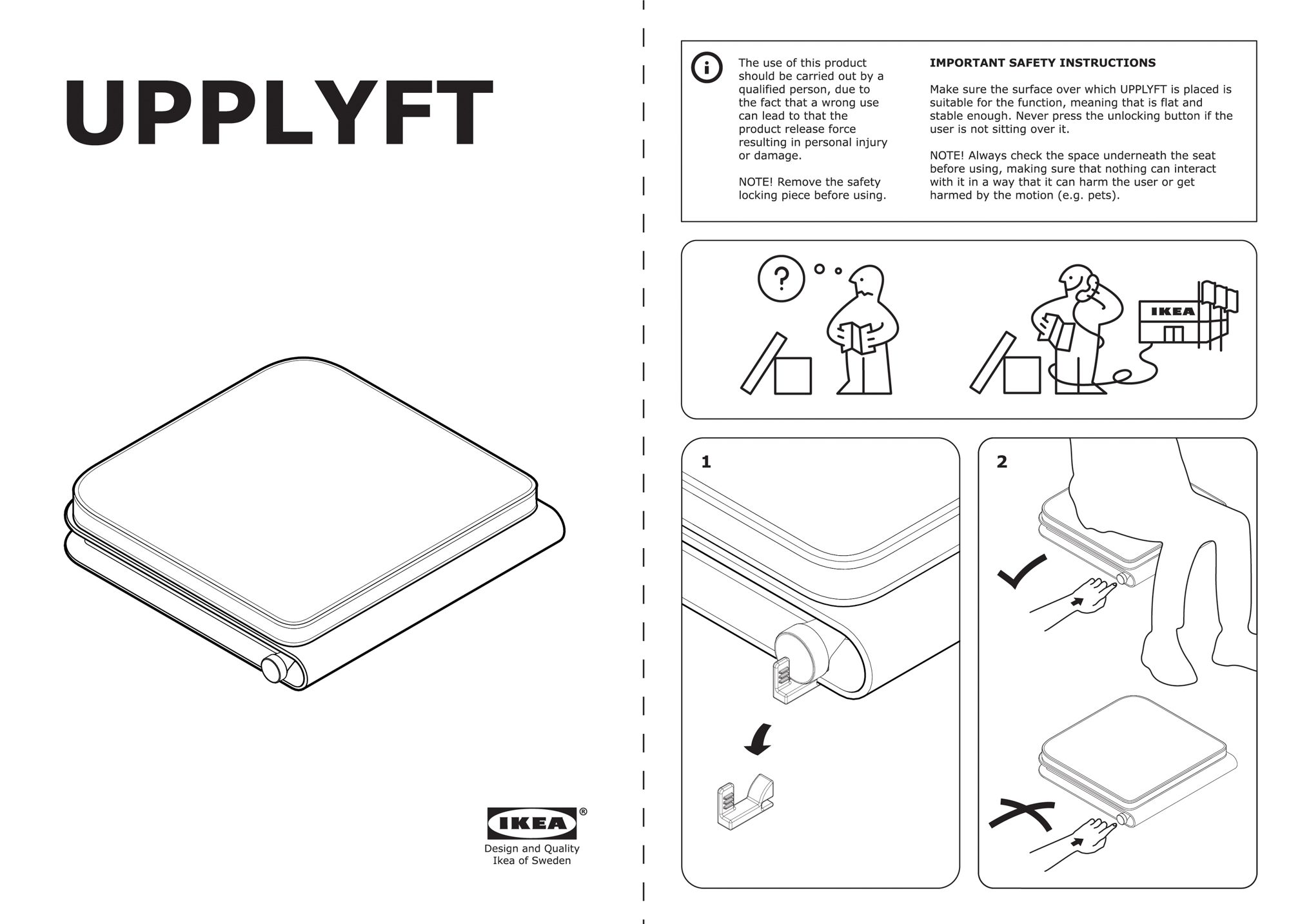 An IKEA instruction manual for the portable assistive seat