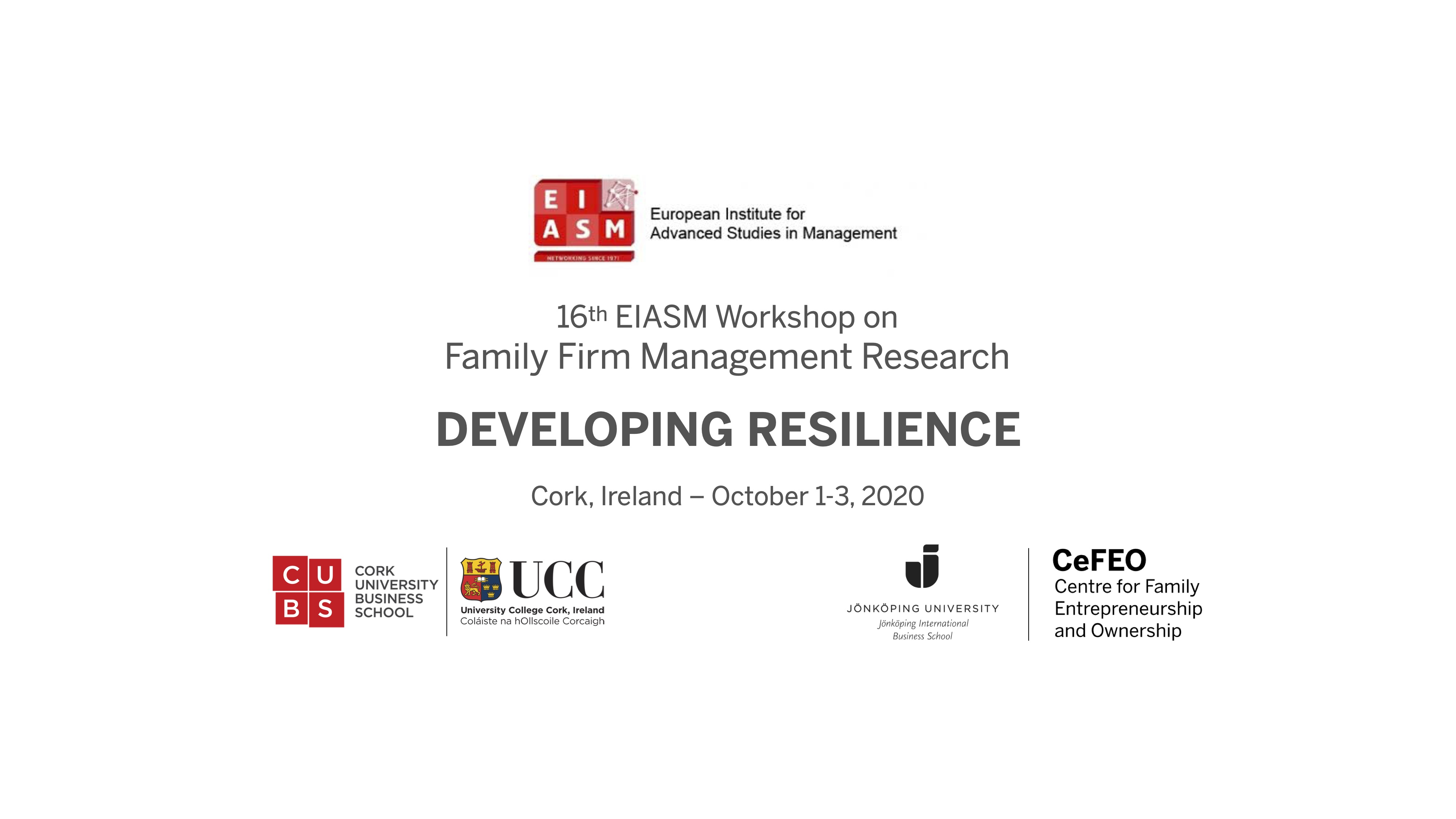 Text: Developing resilience - workshop on Family firm management research